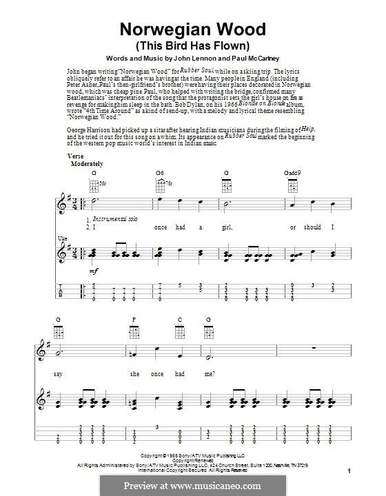Ukulele u00bb Ukulele Tabs Norwegian Wood - Music Sheets, Tablature, Chords and Lyrics
