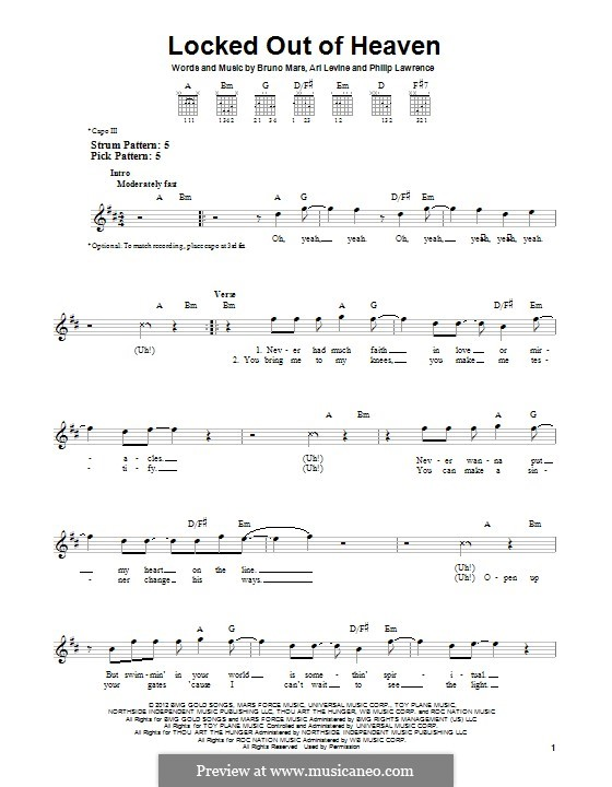 Locked Out of Heaven: For guitar with tab by Ari Levine, Bruno Mars, Philip Lawrence
