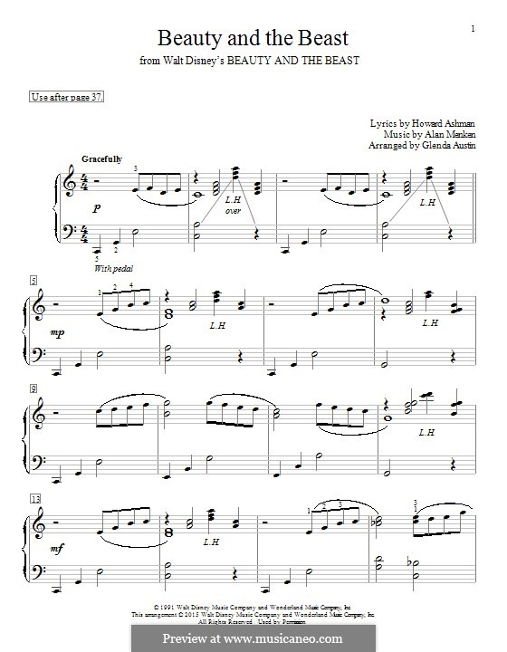 Beauty and the Beast (Celine Dion and Peabo Bryson): For piano by Alan Menken