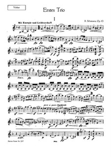 Piano Trio No.1 in D Minor, Op.63: Violin part by Robert Schumann