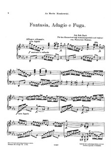 Fantasia, Adagio and Fugue: For piano by Johann Sebastian Bach