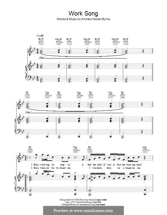 work song hozier piano sheet music pdf