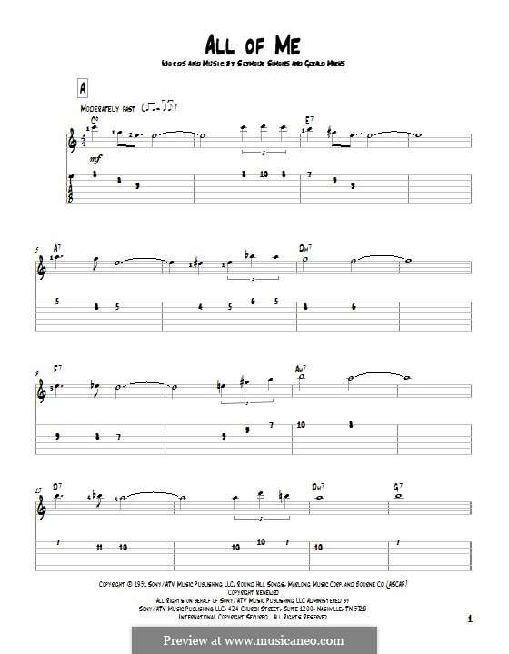 Guitar guitar tabs all of me : All of Me by S. Simons, G. Marks - sheet music on MusicaNeo