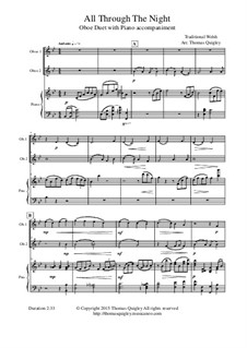 All Through the Night: For oboe duet and piano by folklore