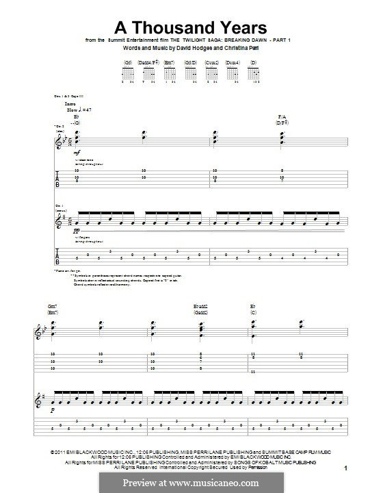 a thousand years sheet music pdf guitar