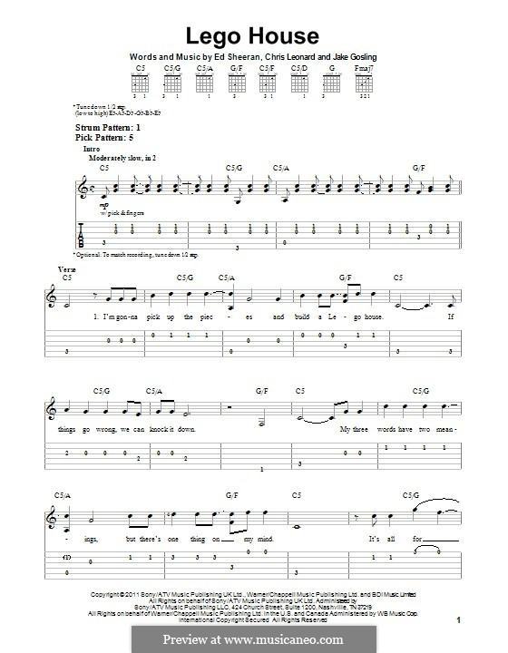 Dorable Ed Sheeran Lego House Chords Sketch - Song Chords Images ...