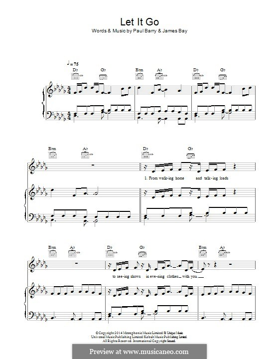 Let It Go by P. Barry, J. Bay - sheet music on MusicaNeo