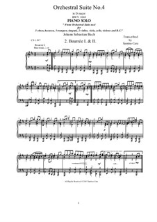 Orchestral Suite No.4 in D Major, BWV 1069: Bourrée I and II, for piano by Johann Sebastian Bach