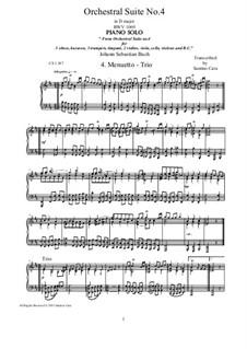 Orchestral Suite No.4 in D Major, BWV 1069: Menuetto-Trio, for piano by Johann Sebastian Bach