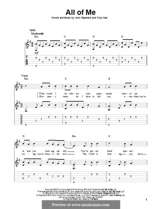 Beautiful All Of Me By J Stephens T Gad Sheet Music On Musicaneo Wedding Dress Piano With Taeyang Guitar Chords