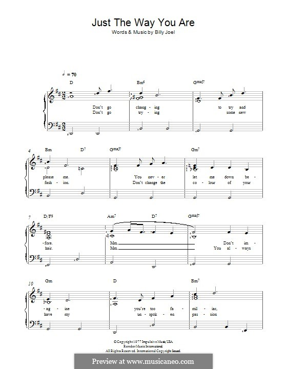 just the way you are billy joel sheet music pdf