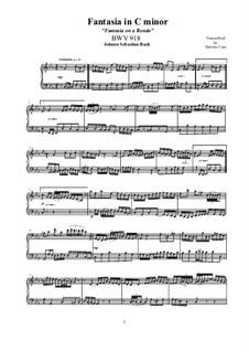 Fantasia in C Minor, BWV 918: For piano by Johann Sebastian Bach