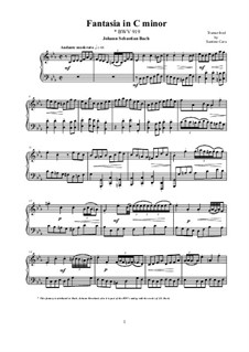 Fantasia in C Minor, BWV 919: For piano by Johann Sebastian Bach
