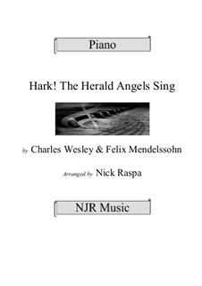 Hark! The Herald Angels Sing: For piano by Felix Mendelssohn-Bartholdy
