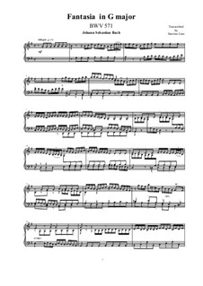 Fantasia in G Major (Concerto), BWV 571: For piano by Johann Sebastian Bach