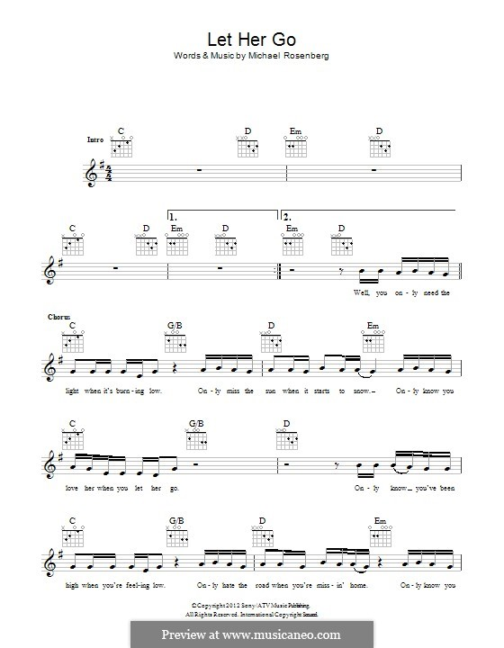 Guitar guitar chords of let her go : Let Her Go Piano Sheet With Letters - 1000 images about flute on ...