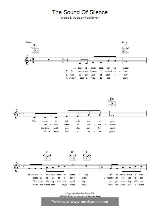 The Sound of Silence (Simon & Garfunkel): Lyrics and chords by Paul Simon