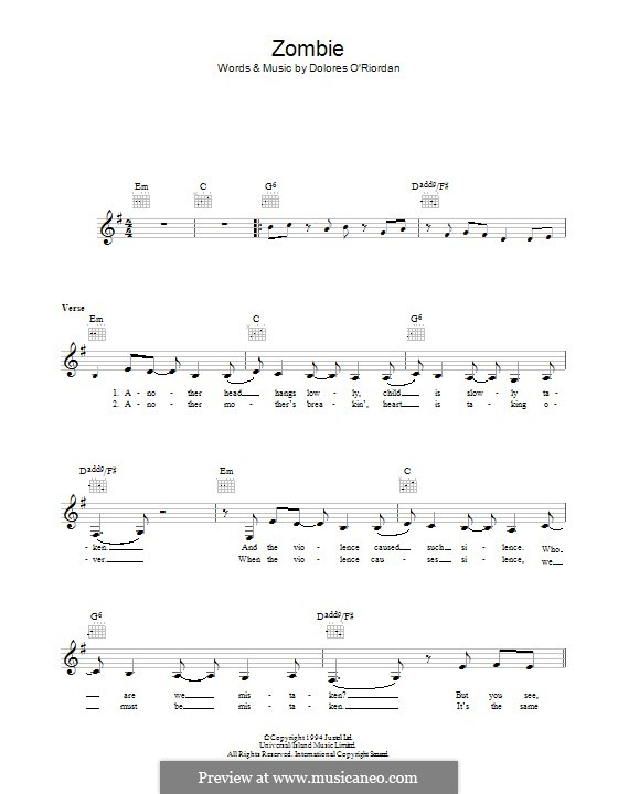 Guitar zombie guitar tabs : Zombie (The Cranberries) by D. O'Riordan - sheet music on MusicaNeo
