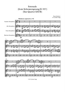No.4 Ständchen (Serenade): For sax quartet SATB by Franz Schubert