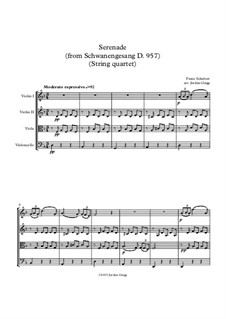 No.4 Ständchen (Serenade): For string quartet by Franz Schubert