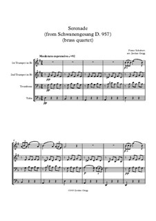No.4 Ständchen (Serenade): For brass quartet by Franz Schubert