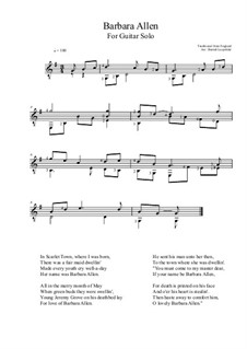 Barbara Allen: For guitar by folklore