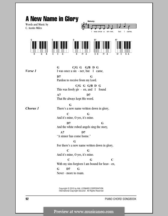 Piano maiden voyage piano chords : A New Name in Glory by C.A. Miles - sheet music on MusicaNeo