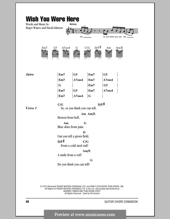 Guitar guitar tablature wish you were here : Wish You Were Here (Pink Floyd) by D. Gilmour, R. Waters on MusicaNeo