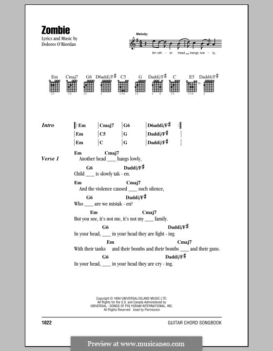 Zombie (The Cranberries) by D. Ou0026#39;Riordan - sheet music on MusicaNeo