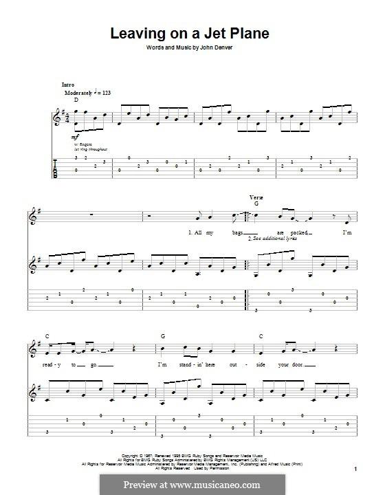 Leaving On A Jet Plane Chords - John Denver - Leaving On a Jet Plane ...
