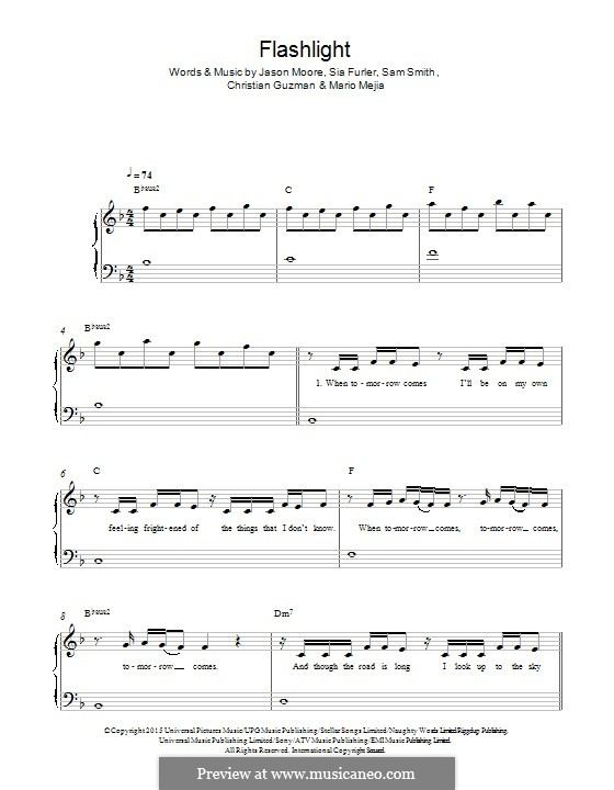 Piano u00bb Piano Chords For Flashlight - Music Sheets, Tablature, Chords and Lyrics