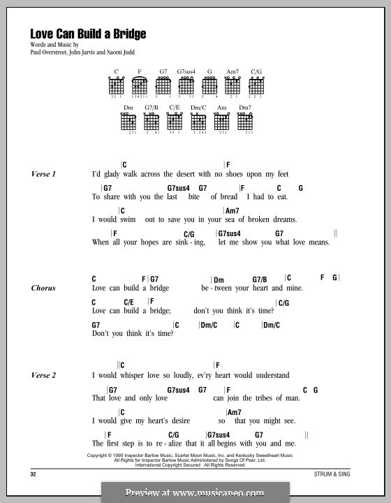 Love Can Build a Bridge: Lyrics and chords by John Jarvis, Naomi Judd, Paul Overstreet