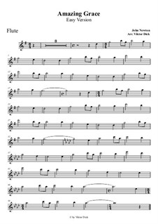 Amazing Grace: For flute (easy version) by folklore