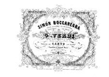 Simon Boccanegra: Arrangement for voices and piano by Giuseppe Verdi