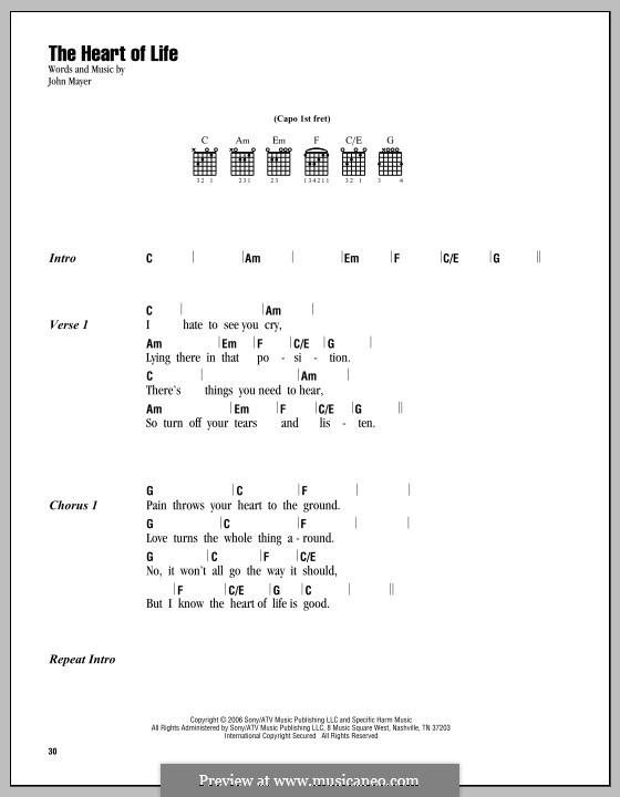 The Heart Of Life By J Mayer Sheet Music On Musicaneo