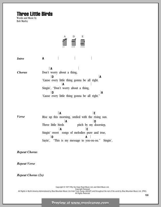 Three Little Birds by B. Marley - sheet music on MusicaNeo