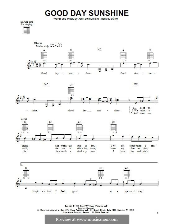 Good Day Sunshine Guitar : Good day sunshine the beatles by j lennon p mccartney