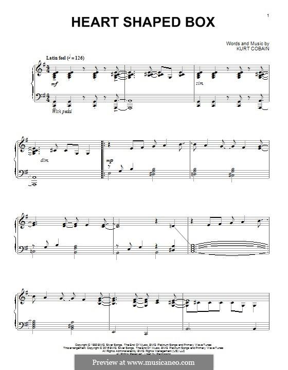 Heart Shaped Box (Nirvana) by K. Cobain - sheet music on MusicaNeo