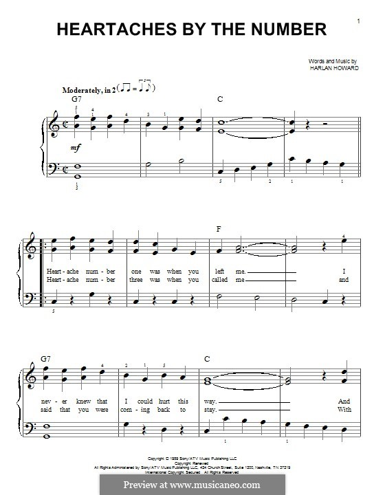 Heartaches By the Number: For piano by Harlan Howard