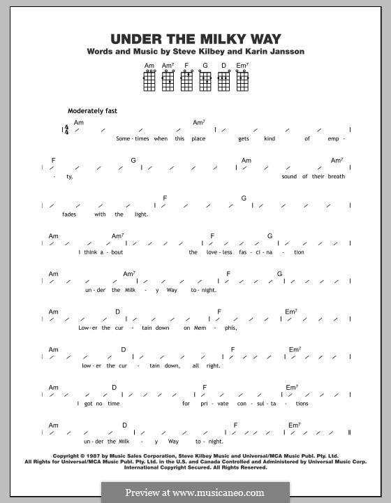 Under the milky way guitar chords