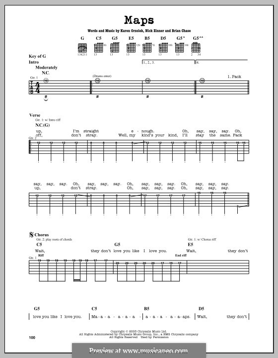 Drum u00bb Drum Tabs Maps Yeah Yeah Yeahs - Music Sheets, Tablature, Chords and Lyrics