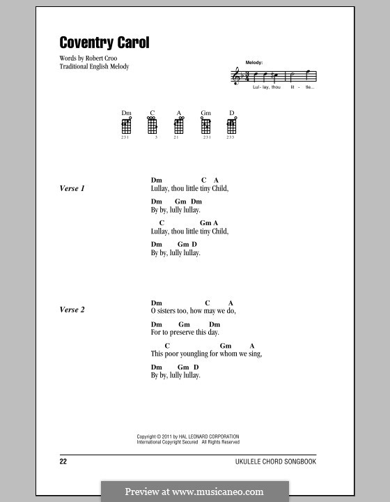 Coventry Carol: For ukulele by folklore