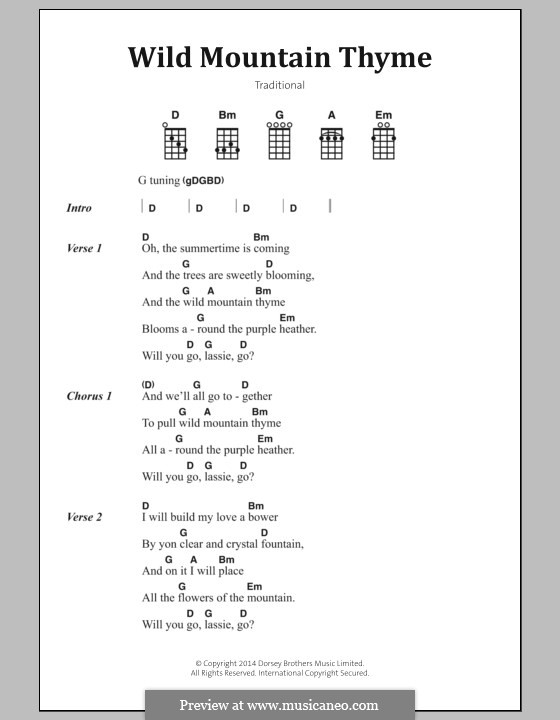 Wild Mountain Thyme: Lyrics and chords by folklore