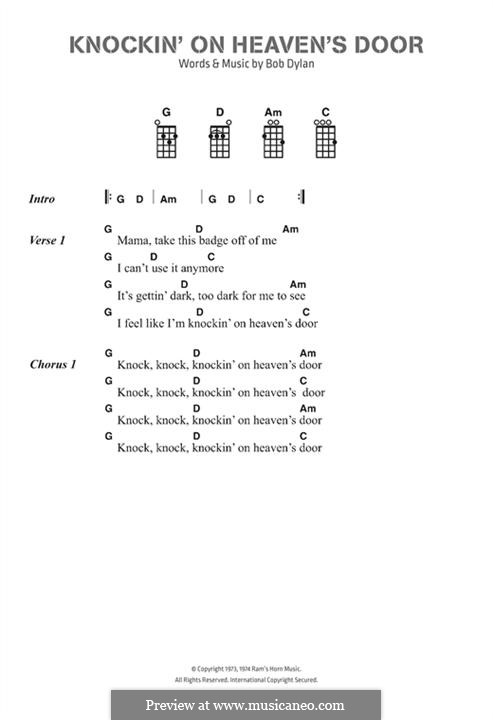 Knockin' on Heaven's Door: Lyrics and chords by Bob Dylan