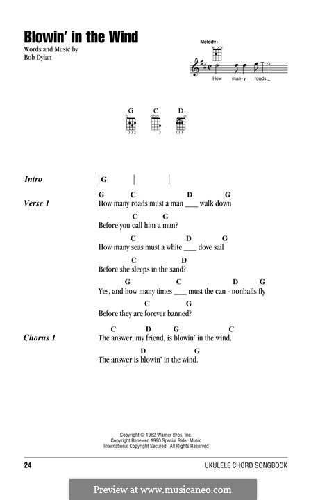 Blowin' in the Wind: For ukulele by Bob Dylan