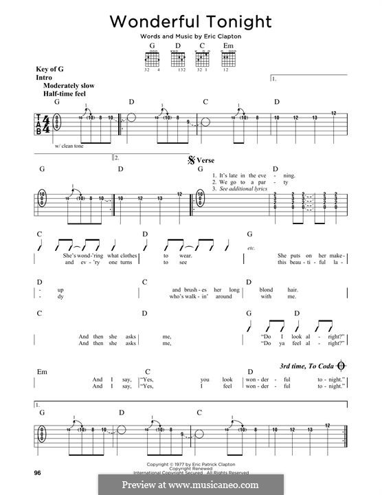 Wonderful Tonight: For guitar with tab by Eric Clapton
