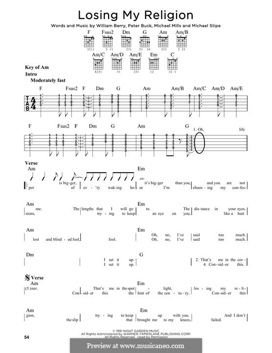 Mandolin u00bb Mandolin Tabs Rem Losing My Religion - Music Sheets, Tablature, Chords and Lyrics