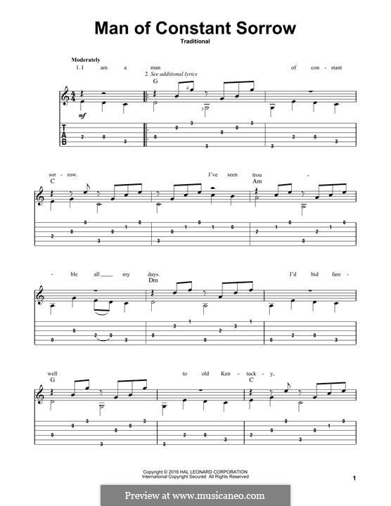 Man of Constant Sorrow by folklore - sheet music on MusicaNeo