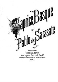 Caprice Basque, Op.24: Score for two performers, Solo part by Pablo de Sarasate