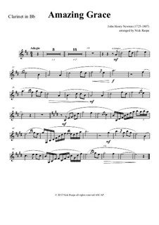 Amazing Grace: For clarinet and piano – clarinet part by folklore